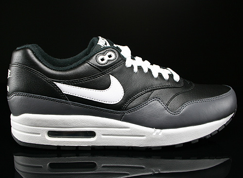 check out b88d4 56ca0 Nike Air Max 1 Leather Schwarz Weiss Dunkelgrau 654466-001