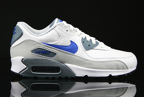 size 40 79198 ffc06 Nike Air Max 90 Leather Weiss Hellgrau Blau Dunkelgrau 652980-104