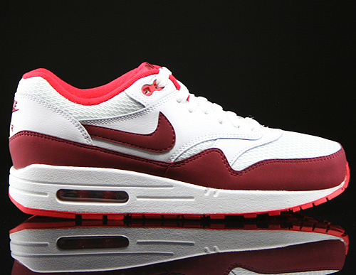 lowest price 74913 0b66b Nike WMNS Air Max 1 Essential Weiss Rot Dunkelrot 599820-110