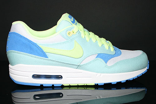 new product f33a8 c912b Nike WMNS Air Max 1 Hellblau Neongruen Weiss Blau 319986-301