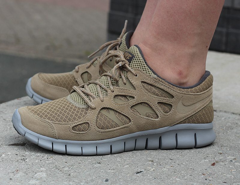 Nike Free Run 2 Khaki Flat Silver Dark Grey - 537732-202