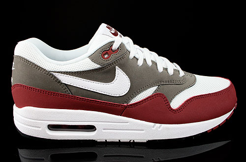 Nike Air Max 1 Essential Dunkelrot Weiss Graubraun Sneakers 537383-612