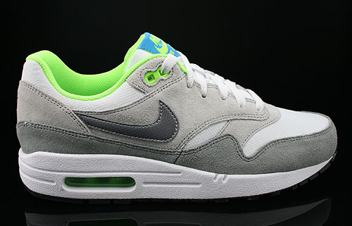 more photos fb169 2247d Nike Air Max 1 GS Weiss Hellgrau Grau Neongruen Schwarz Sneakers 555766-104