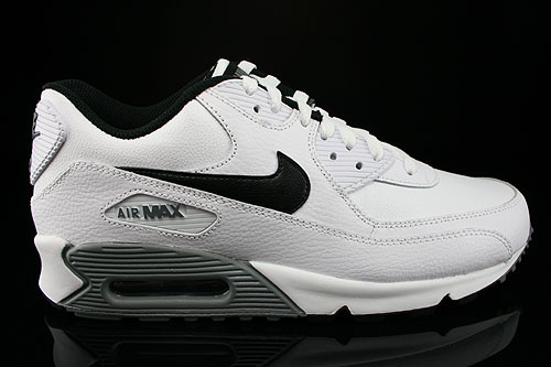 Nike Air Max 90 Essential Leather Weiss Schwarz Grau Sneakers 599521-100