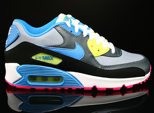 best authentic 173a7 51749 Nike Air Max 90 GS Dunkelgrau Schwarz Blau Neongelb Sneaker 307793-092