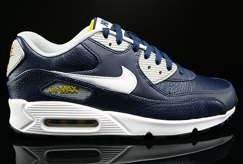 buy popular df157 0a64e Nike Air Max 90 Leather Dunkelblau Weiss Grau Gelb Sneaker 652980-400