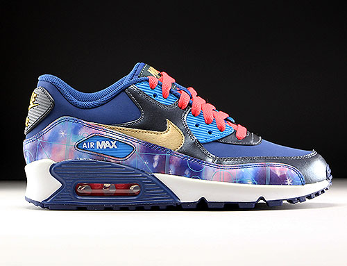 Nike Air Max 90 Premium Leather GS Dunkelblau Blau Gold Rot 724879-004