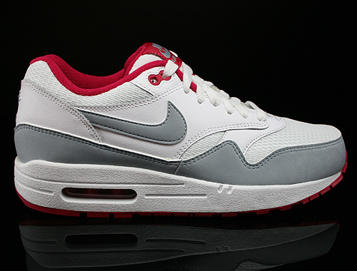 nike wmns air max 1 essential weiss grau rot 599820 104. Black Bedroom Furniture Sets. Home Design Ideas