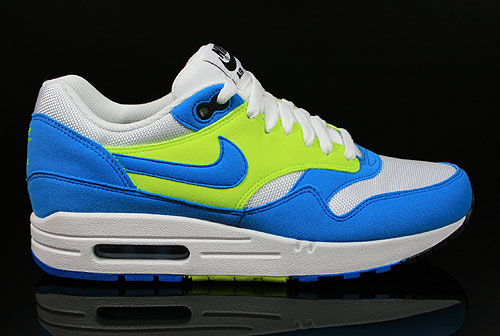 wholesale dealer 69ccd e8a81 Nike WMNS Air Max 1 White Blue Glow Volt Black 319986-103 -