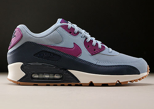 Nike WMNS Air Max 90 Essential Blaugrau Violett Dunkelblau
