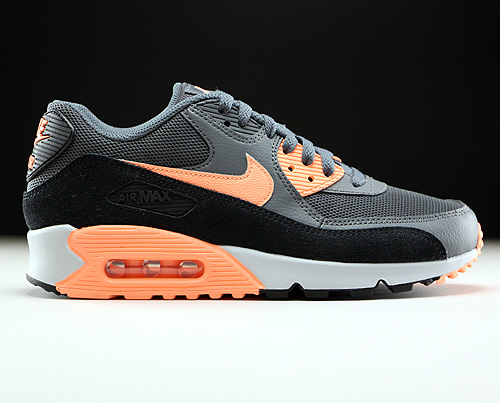 Nike WMNS Air Max 90 Essential Dunkelgrau Orange Schwarz Hellgrau 616730-021