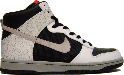 This Nike Dunk Hi Premium comes in a Black/Neutral Grey-White Colorway.