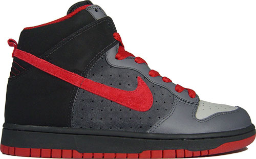 This Nike Dunk Hi comes in a Medium Grey/Varsity Red-Black Colorway.