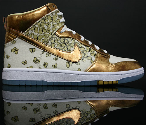 Nike Dunk High WMNS Skinny Perlmutt Metallic Gold Limone Weiss