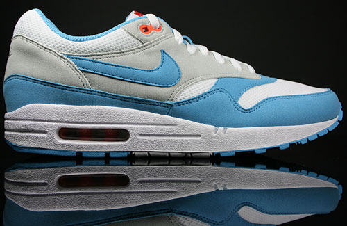 Nike Air Max 1 White/Scuba Blue-Neutral Grey-Orange Blaze 308866-143
