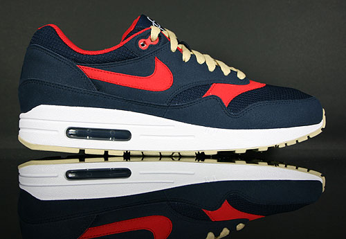 Nike Air Max 1 Obsidian Sport Red Vegas Gold White 308866-402