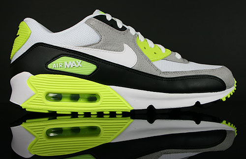 Nike Air Max 90 Black White Medium Grey Volt Sneaker 325018-048