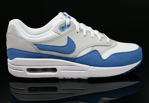 Nike Air Max 1 GS White Varsity Blue Neutral Grey Black Sneakers 555766-100