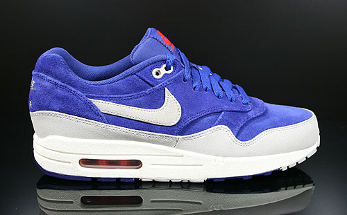 Nike Air Max 1 Premium Deep Royal Blue Granite Sail Team Orange Sneakers 512033-408