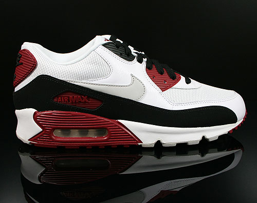 Nike Air Max 90 Essential White Neutral Grey Black Team Red Sneakers 537384-106