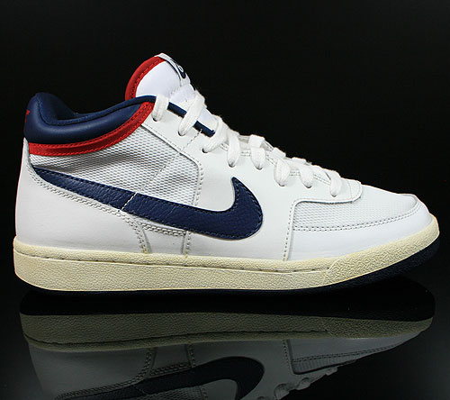 Nike Challenge Court Mid Vintage White Midnight Navy Red Sneakers 519106-160
