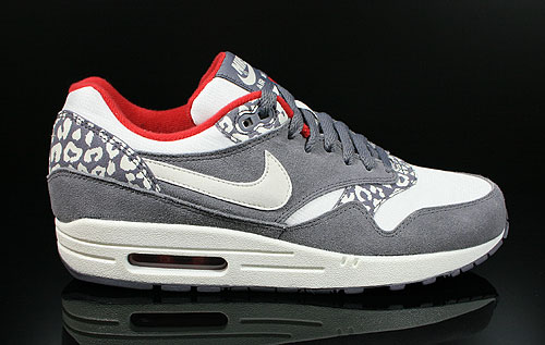 Nike WMNS Air Max 1 Leopard Charcoal Sail Gym Red Sneakers 319986-099