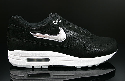 Nike WMNS Air Max 1 Premium Black Metallic Silver White Sneakers 454746-002