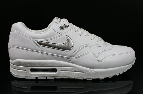 Nike WMNS Air Max 1 Premium White Metallic Silver Pure Platinum Sneakers 454746-100