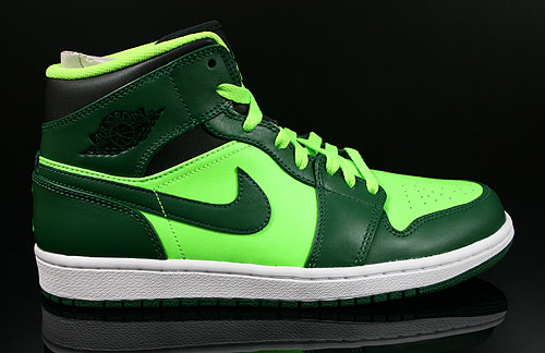 Nike Air Jordan 1 Mid Gorge Green Black Electric Green White Sneakers 554724-330