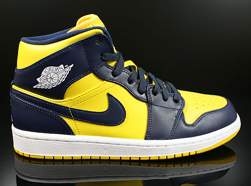 Nike Air Jordan 1 Mid Varsity Maize Midnight Navy White Sneakers 554724-707