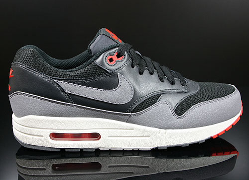 Nike Air Max 1 Essential Black Cool Grey Anthracite Team Orange Sneakers 537383-008