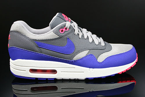 Nike Air Max 1 Essential Medium Grey Ultramarine Dark Grey Solar Red Sneakers 537383-006