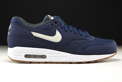 Nike Air Max 1 Essential Midnight Navy Light Bone White Sneakers 537383-401