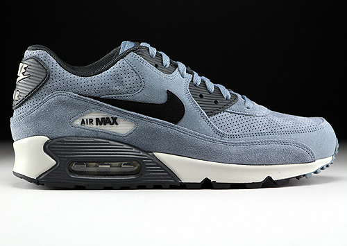 Nike Air Max 90 Leather Premium Blue Graphite Black Anthracite Sneakers 666578-401