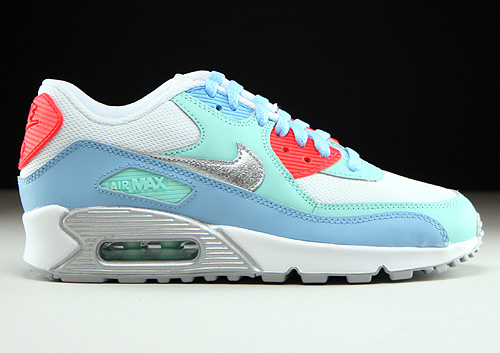 Nike Air Max 90 Mesh GS White Metallic Silver Lakeside Artisan Teal Sneakers 724855-100