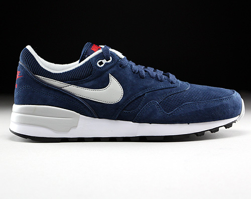 Nike Air Odyssey Leather Midnight Navy Neutral Grey University Red Sneakers 684773-401