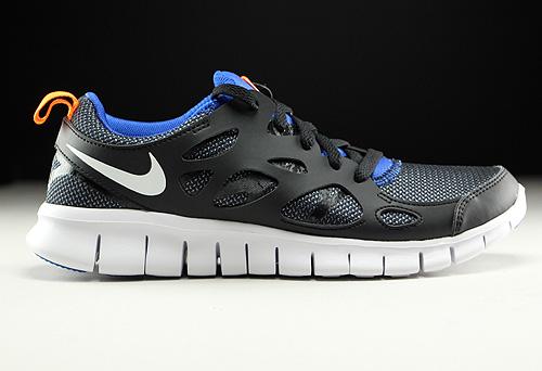 Nike Free Run 2 GS Black White Total Orange Game Royal Sneakers 443742-033
