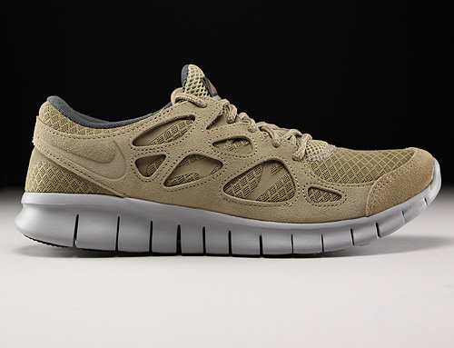 Nike Free Run 2 Khaki Flat Silver Dark Grey Sneakers 537732-202