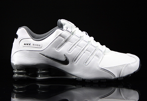 83c643c13f3 Nike Shox NZ White Black Cool Grey Metallic Silver 378341-102 - Purchaze