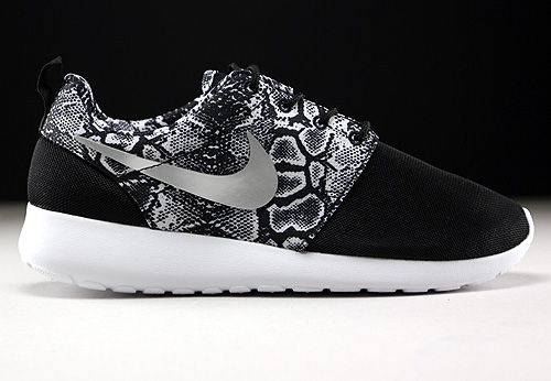Nike WMNS Roshe One Print Black Metallic Silver White Sneakers 599432-003