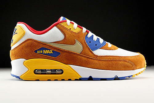 Nike Air Max 90 Premium White Metallic Gold Green Tawny Game