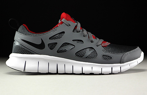 b632acbbbaac Nike Free Run 2 GS Wolf Grey Black Gym Red White - Purchaze