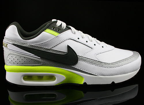 Nike Air Classic BW White Newsprint Metallic Silver Volt Sneakers 309210-152