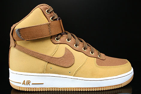 Nike Air Force 1 High Shale Light British Tan Gum Medium Brown Sneakers 631405-200