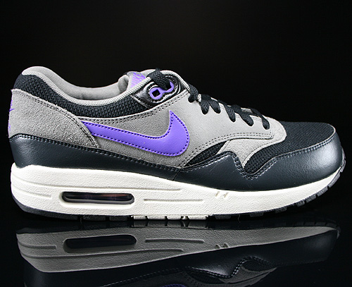 Nike Air Max 1 Essential Black Hyper Grape Light Ash Sneakers 537383-005