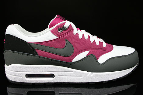 Nike Air Max 1 Essential White Dark Base Grey Bright Magenta Black Sneakers 537383-105