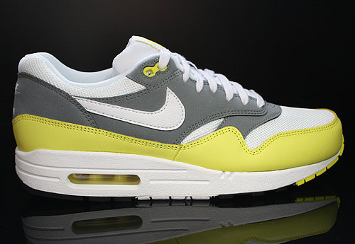 Nike Air Max 1 Essential White Yellow Cool Grey Black Sneakers 537383-111