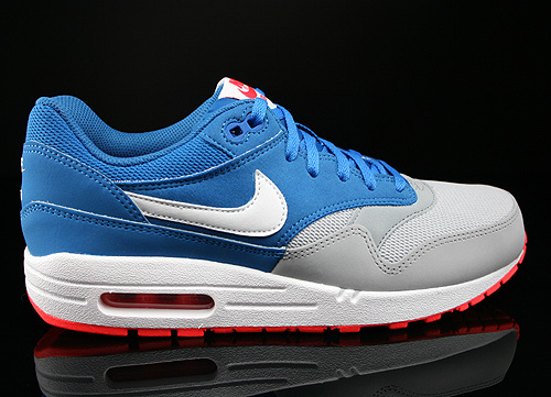 Nike Air Max 1 GS Military Blue White Laser Crimson Wolf Grey Sneakers 555766-403