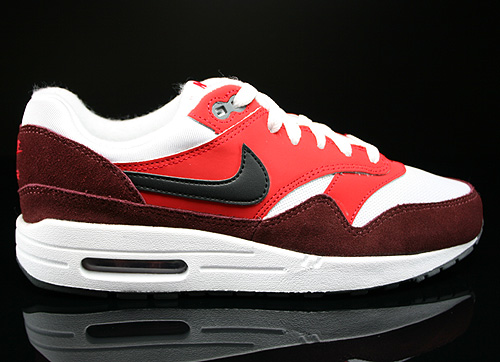 Nike Air Max 1 GS White Black University Red Dark Team Red Sneakers 555766-107