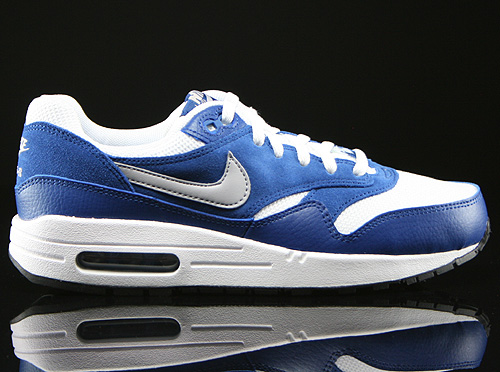 Nike Air Max 1 GS White Wolf Grey Gym Blue Black Sneakers 555766-111